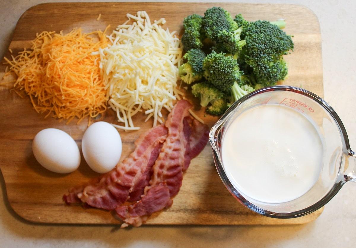 bacon broccoli quiche unprepped ingredients