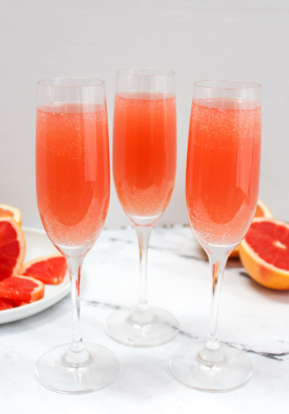 rose mimosas in flutes