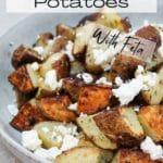 Roasted Potatoes with Lemon, Oregano and Feta in a bowl