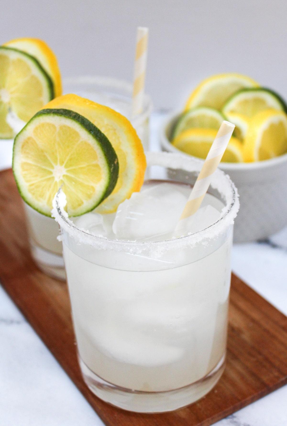 lemonade margaritas on a serving platter