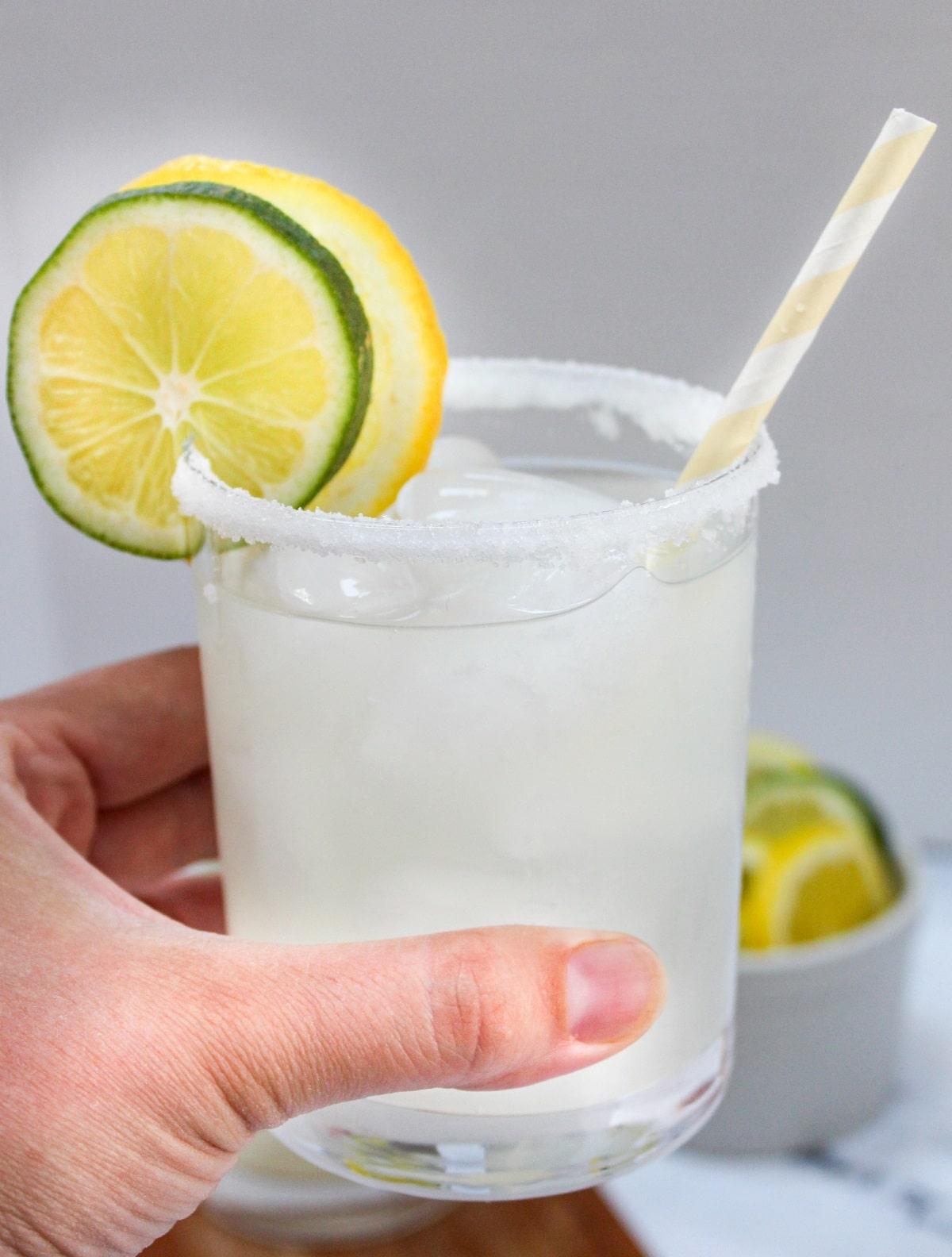 lemonade margaritas held in hand
