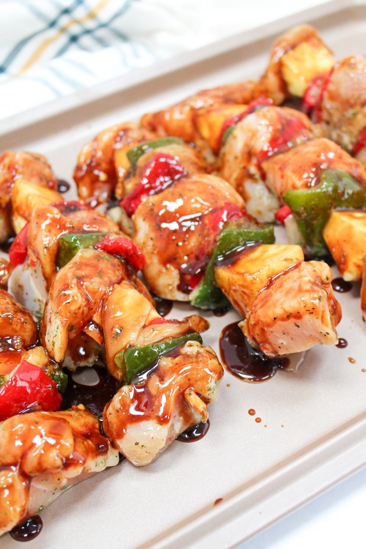uncooked teriyaki chicken kabobs