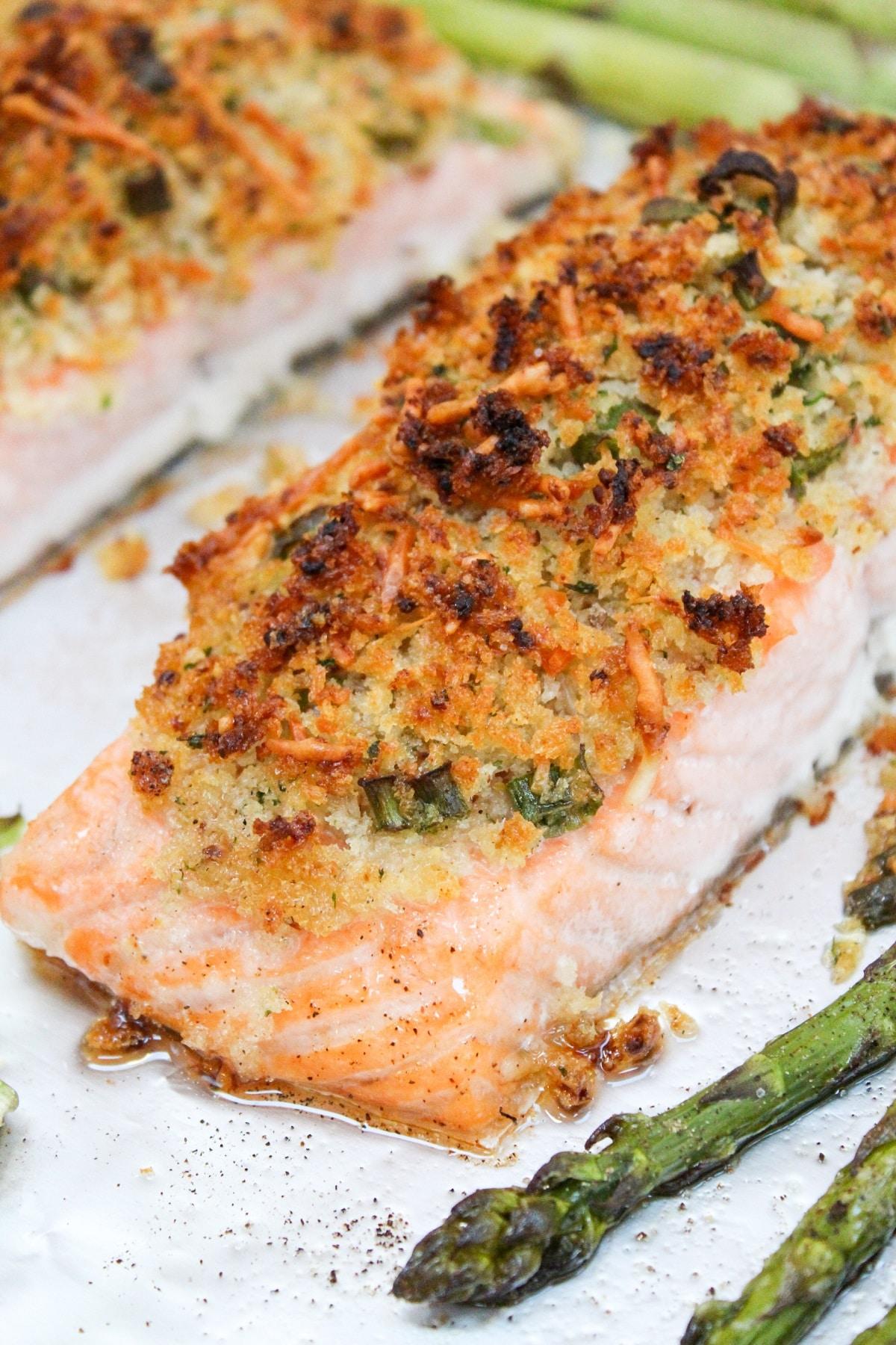 plated crispy sheet pan salmon with asparagus