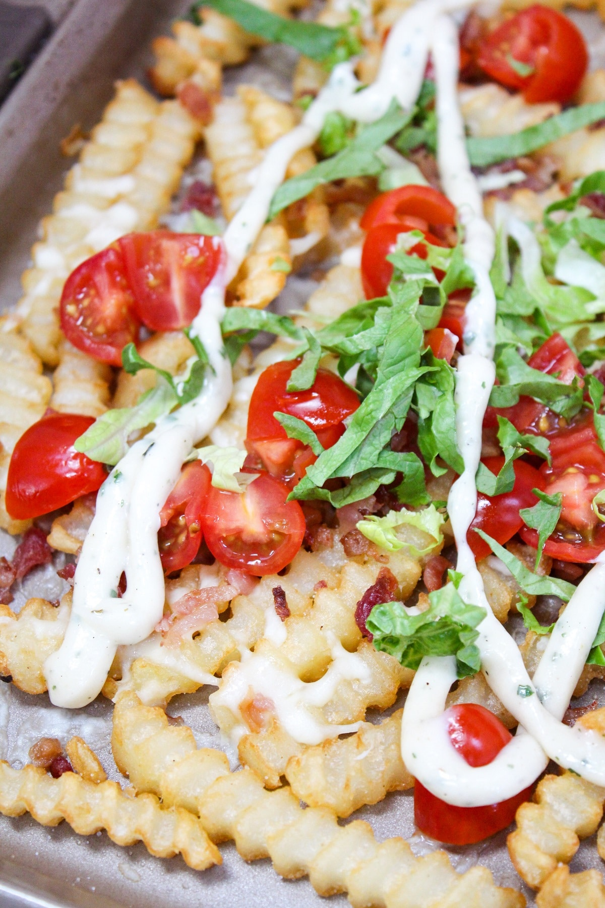 loaded blt fries on tray