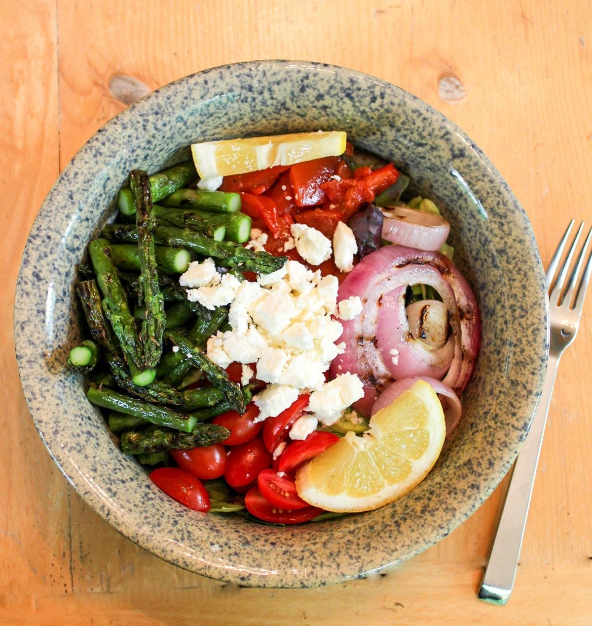 overhead photo of feta asparagus salad