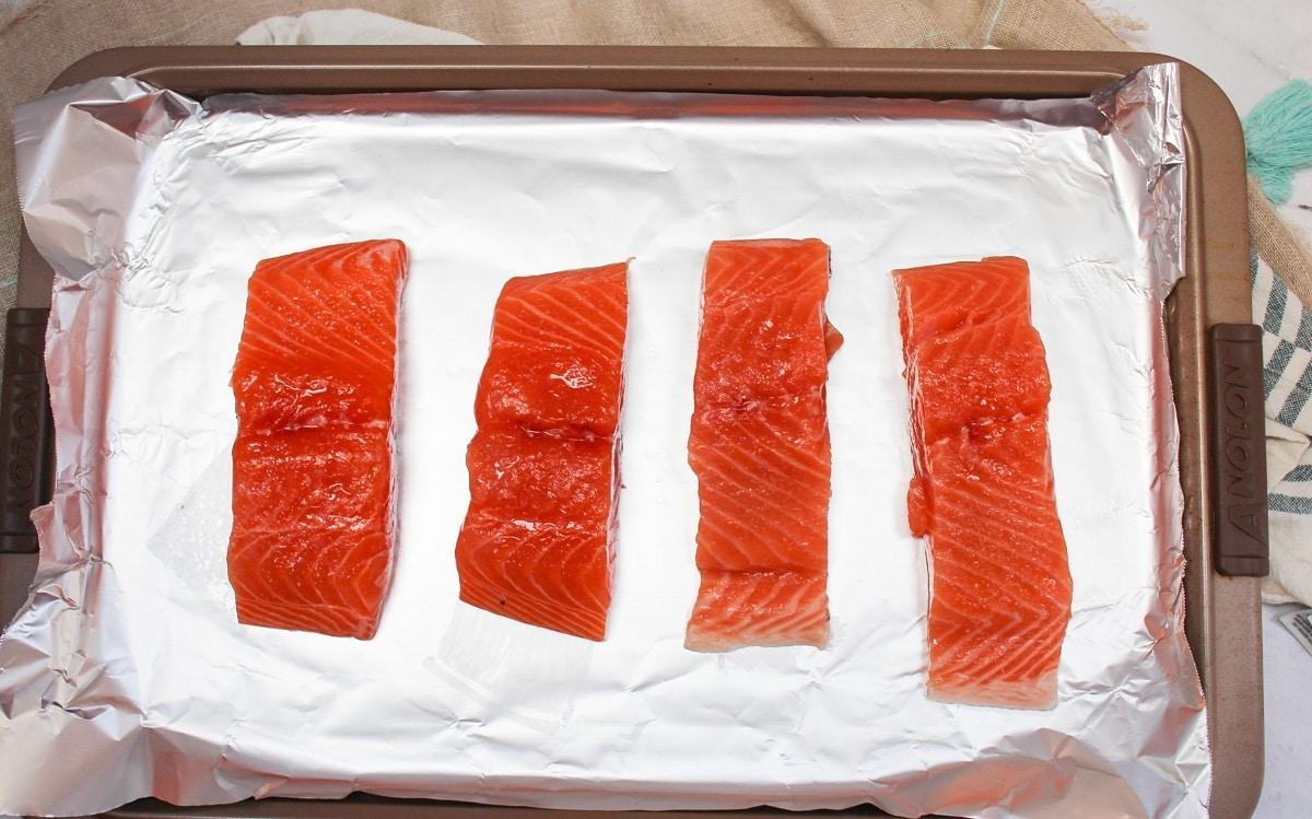 raw salmon pieces