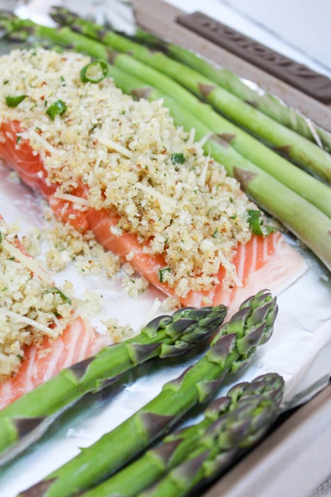 uncooked crispy sheet pan salmon with asparagus