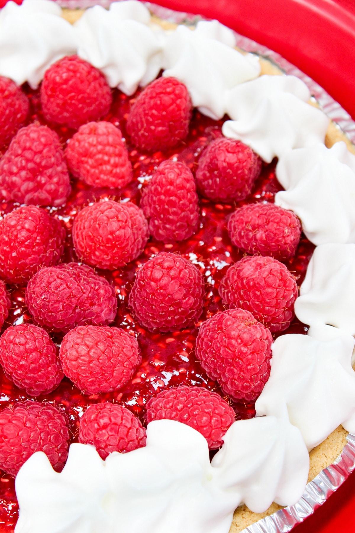 close photo of raspberry cream pie