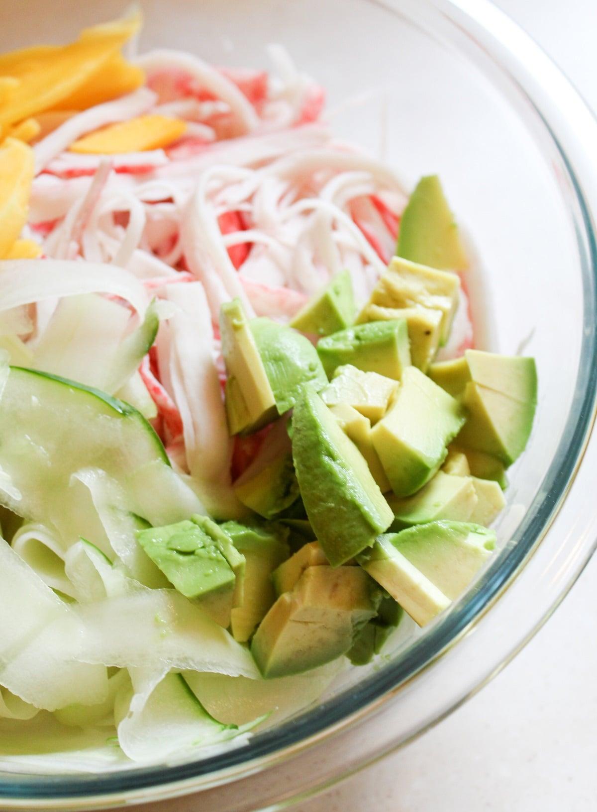 diced avocado in bowl
