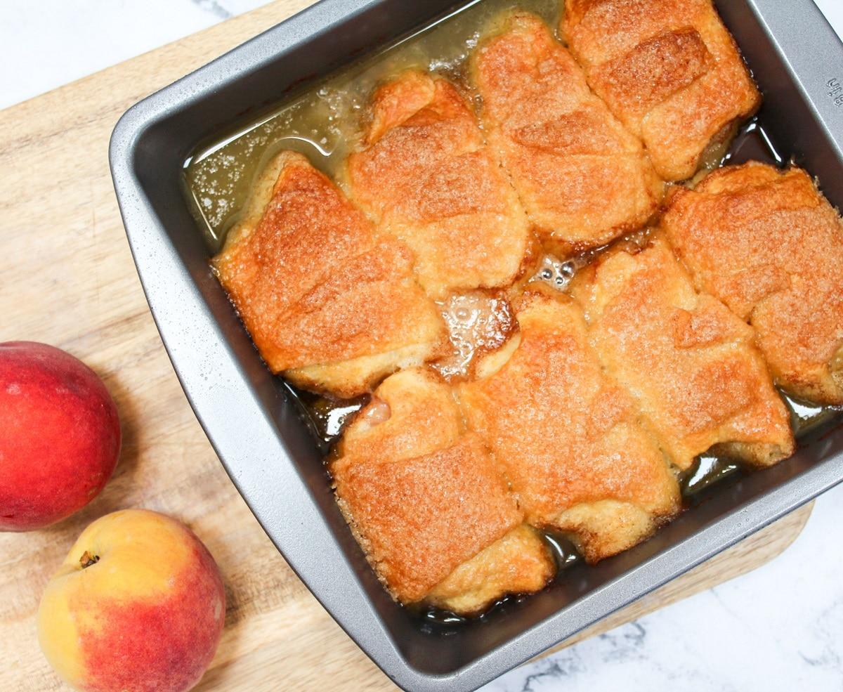 baked peach dumplings