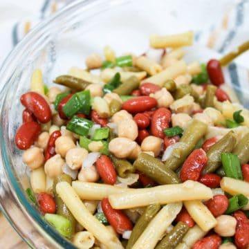 3-bean salad in a glass bowl