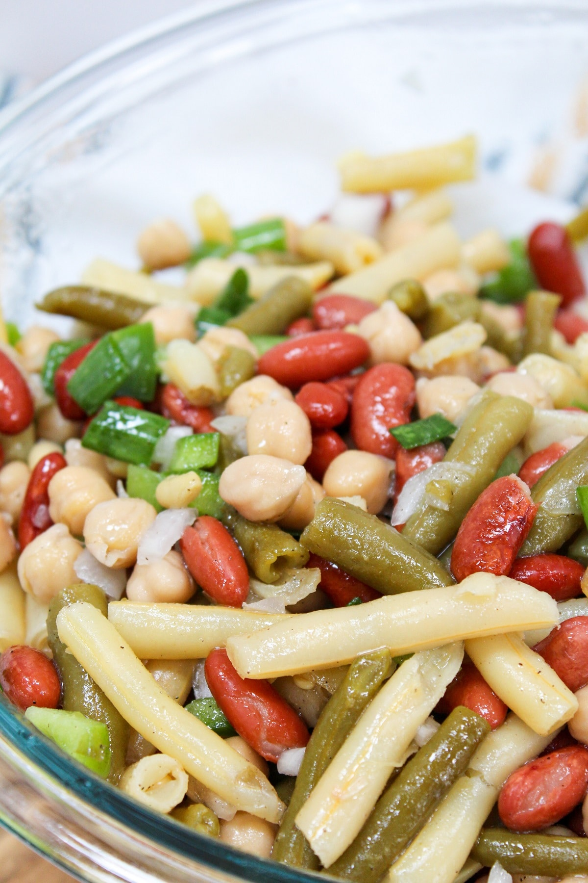 classic 3-bean salad in a glass bowl