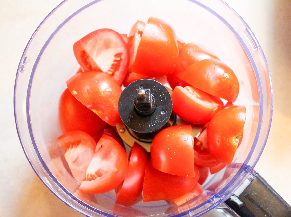 tomatoes in a food processor