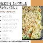 creamy chicken noodle casserole in a glass dish