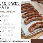 oven baked brats on a baking sheet
