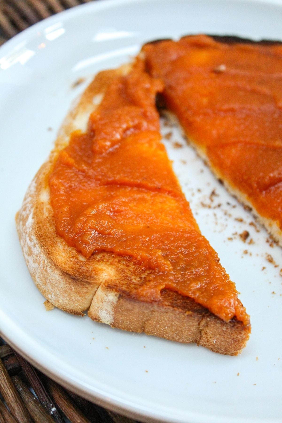 pumpkin butter on toast cut in half