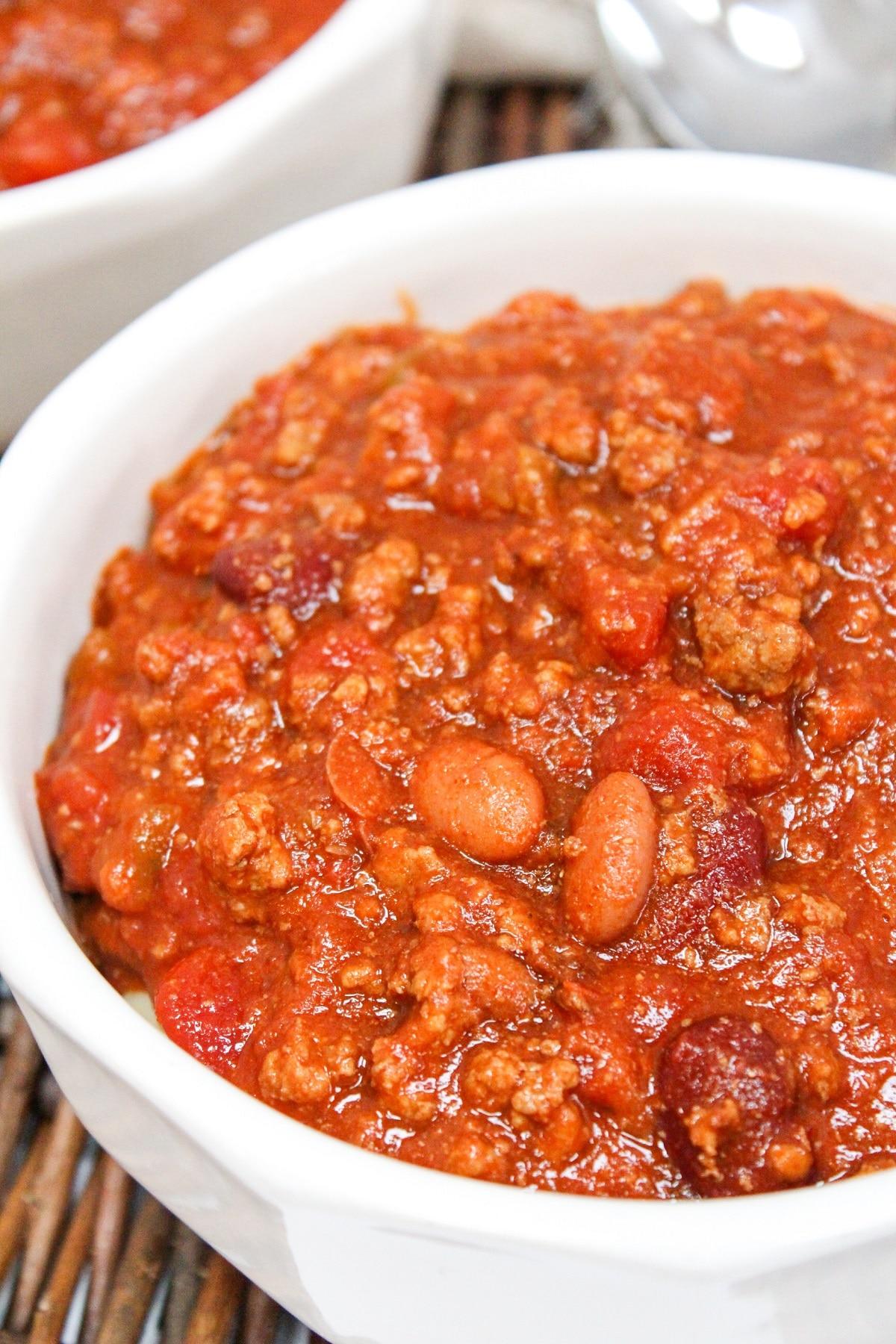 venison chili in a white bowl
