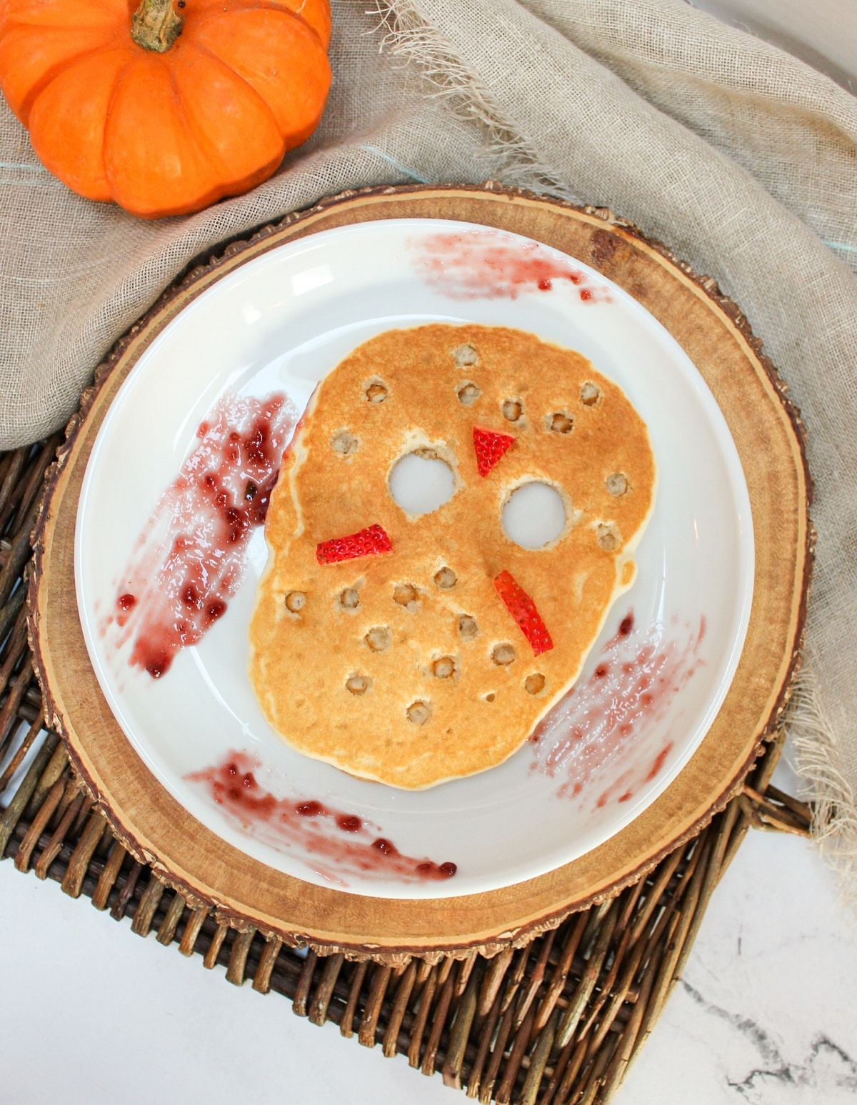 jason vorhees, friday the 13th, ski mask pancake on a plate with raspberry jam on the plate