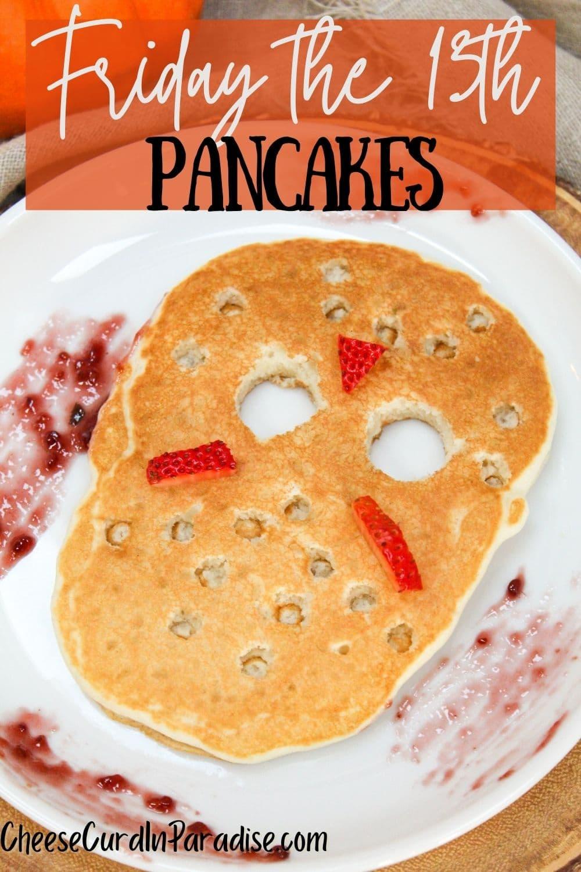 jason vorhees ski mask pancake on a plate with raspberry jam on the plate