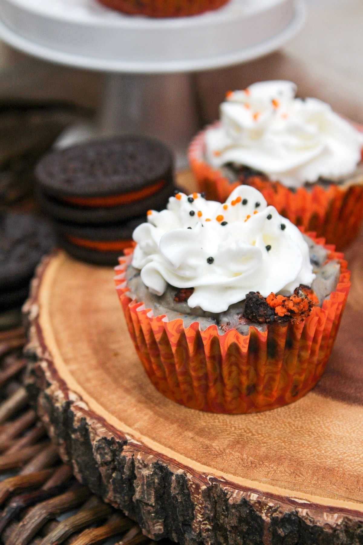 Mini Halloween Oreo Cheesecakes in orange wrappers