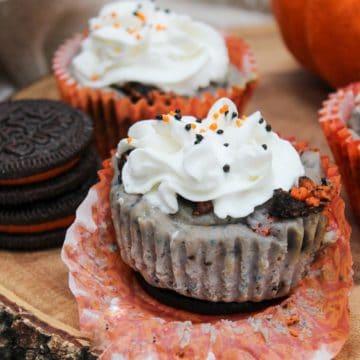 Mini Halloween Oreo Cheesecakes unwrapped